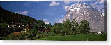 Buildings In A Village, Mt Wetterhorn Canvas Print by Panoramic Images