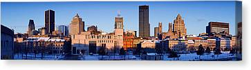 Buildings In Winter, Montreal, Quebec Canvas Print by Panoramic Images
