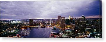 Buildings Lit Up At Dusk, Baltimore Canvas Print