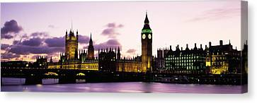 City Of Bridges Canvas Print - Buildings Lit Up At Dusk, Big Ben by Panoramic Images