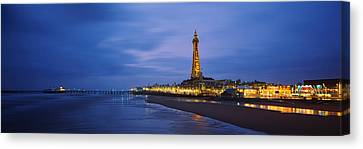 Buildings Lit Up At Dusk, Blackpool Canvas Print by Panoramic Images