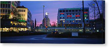 Buildings Lit Up At Dusk, Karlsplatz Canvas Print by Panoramic Images