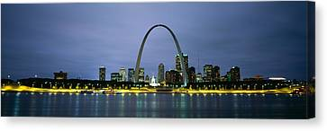 Buildings Lit Up At Dusk, Mississippi Canvas Print by Panoramic Images
