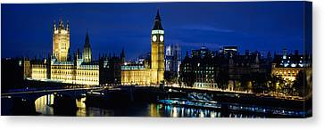 Buildings Lit Up At Dusk, Westminster Canvas Print