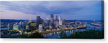 Buildings Lit Up At Night, Monongahela Canvas Print by Panoramic Images