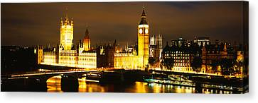 City Of Bridges Canvas Print - Buildings Lit Up At Night, Westminster by Panoramic Images