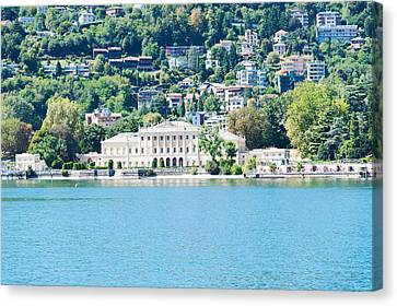 Buildings On A Hill, Villa Olmo, Lake Canvas Print