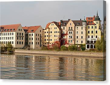 Buildings On The Danube River Canvas Print by Michael Defreitas