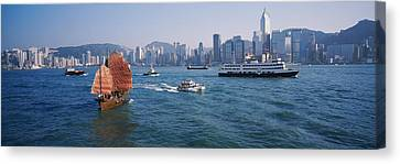 Buildings On The Waterfront, Kowloon Canvas Print by Panoramic Images