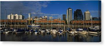 Buildings On The Waterfront, Puerto Canvas Print