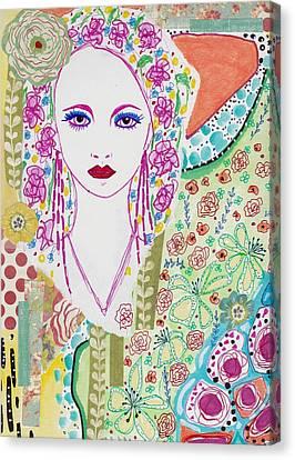 Watercolor With Pen Canvas Print - Bulgarian Folk Girl by Rosalina Bojadschijew