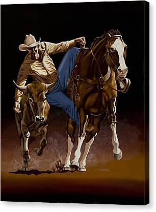 Cowboys Canvas Print - Bull Doggin' by Hugh Blanding