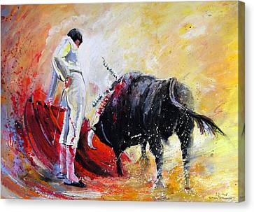 Bull In Yellow Light Canvas Print by Miki De Goodaboom