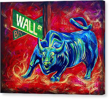 Animal Abstract Canvas Print - Bull Market by Teshia Art