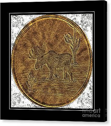 Bull Moose - Brass Etching Canvas Print