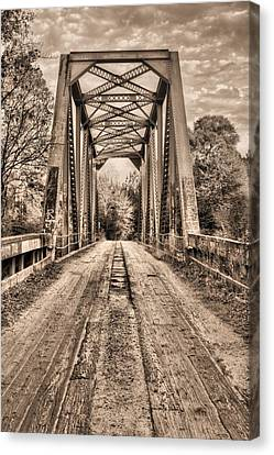 Old Country Roads Canvas Print - Bull Slough Bridge In Sepia by JC Findley
