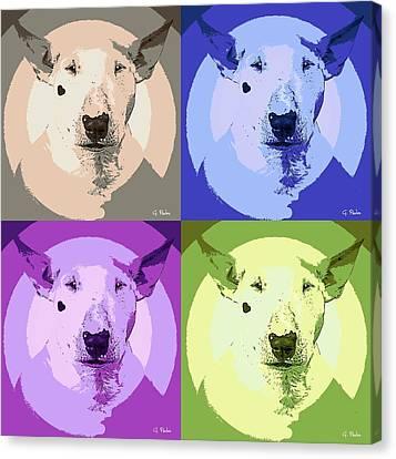 Bull Terrier Pop Art Canvas Print by George Pedro