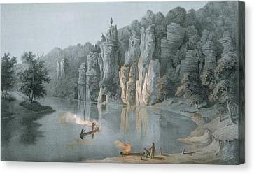 Bullard Rock On The New River Canvas Print by Edward Beyer
