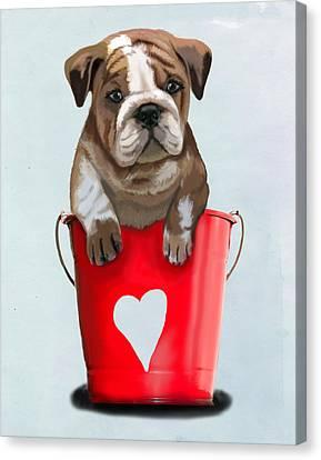 Bulldog Buckets Of Love Canvas Print by Kelly McLaughlan