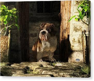 Bulldog In A Doorway Canvas Print