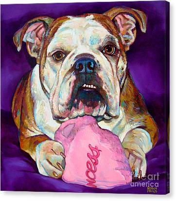 Canvas Print featuring the painting Bulldog Princess by Robert Phelps