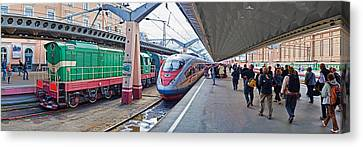 Bullet Train At A Railroad Station, St Canvas Print