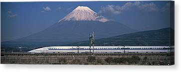 Bullet Train Mount Fuji Japan Canvas Print by Panoramic Images