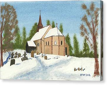 Canvas Print featuring the painting Bulley Church by John Williams
