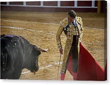 Bullfighter Manuel Ponce Performing During A Corrida In The Bullring Canvas Print