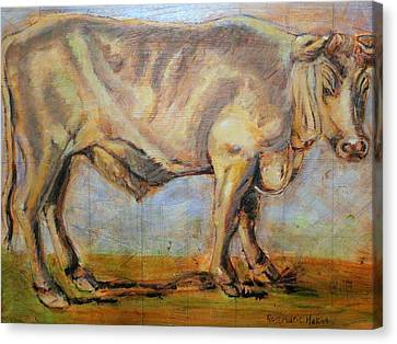 Canvas Print featuring the painting Bullock by Rosemarie Hakim