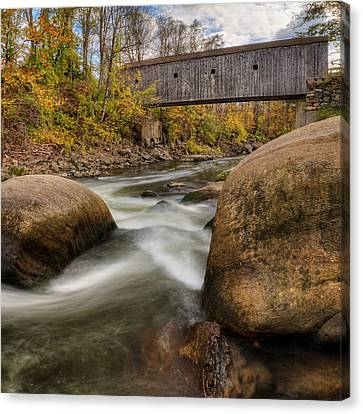 Bulls Bridge Autumn Square Canvas Print by Bill Wakeley