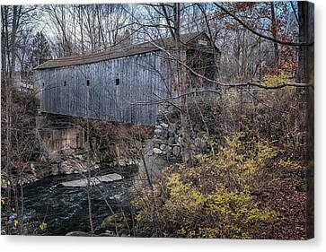 Bulls Bridge Covered Bridge Canvas Print by Joan Carroll
