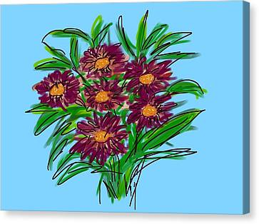 Canvas Print featuring the digital art Bunch Of Daisies by Christine Fournier