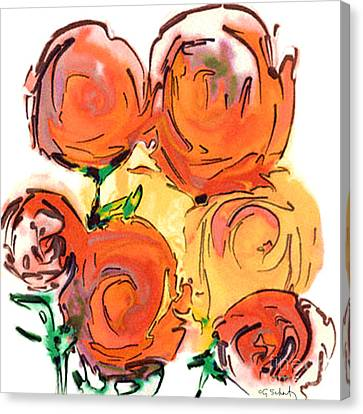 Canvas Print featuring the digital art Bunch Of Roses by Gabrielle Schertz