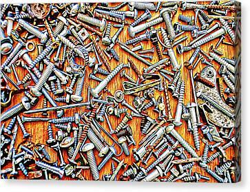 Bunch Of Screws 1- Digital Effect Canvas Print by Debbie Portwood