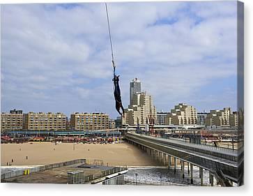 Bungee Jumping From The Pier Scheveningen The Hague The Netherlands Canvas Print by Petr Bonek