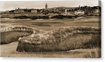 Canvas Print featuring the photograph Bunker At St. Andrews Old Course Scotland by Sally Ross