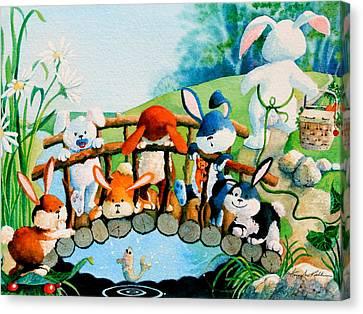 Bunnies On A Bridge Canvas Print