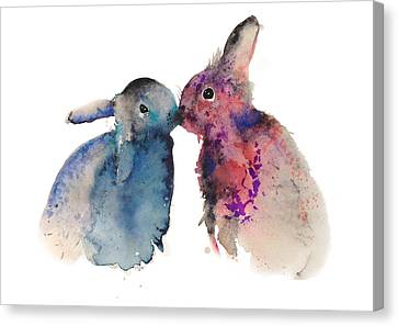 Bunnies In Love Canvas Print by Krista Bros
