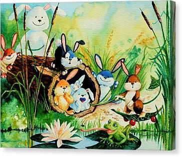 Bunnies Log And Frog Canvas Print