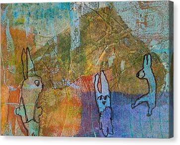 Canvas Print featuring the mixed media Bunny Ballet by Catherine Redmayne