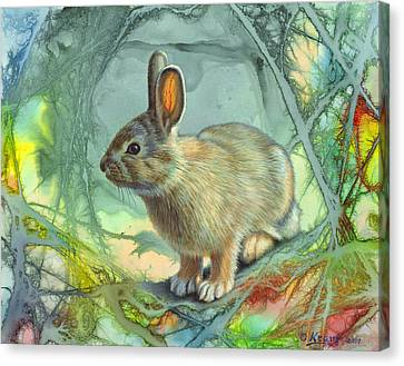 Bunny In Abstract Canvas Print