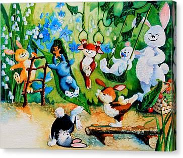 Bunny Tricks Canvas Print