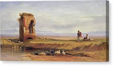 Buon Ricovero In The Roman Campagna Canvas Print by Edward Lear