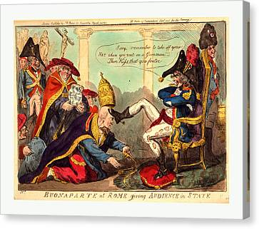 Buonaparte At Rome Giving Audience In State, Cruikshank Canvas Print by English School