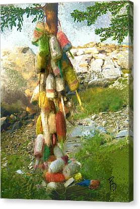 Rocky Maine Coast Canvas Print - Buoy Tree by Ric Darrell