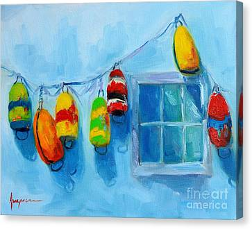 Painted Buoys And Boat Floats  Canvas Print