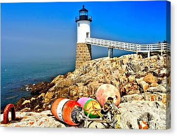 Buoys At The Headlight Canvas Print by Adam Jewell