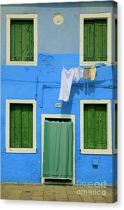 Burano Blue And Green Canvas Print by Inge Johnsson
