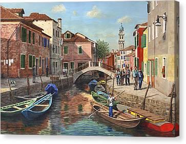 Burano Canal Venice Canvas Print by Richard Harpum